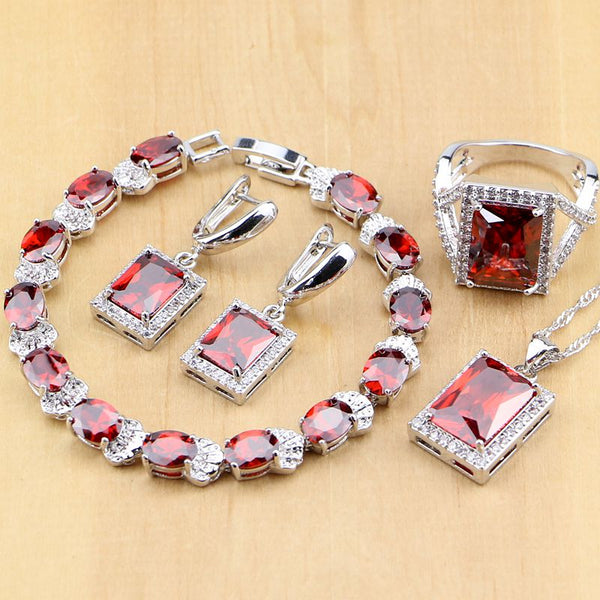 925 STERLING SILVER RUBY CHARMING BIRTHSTONE 5 PCS SET