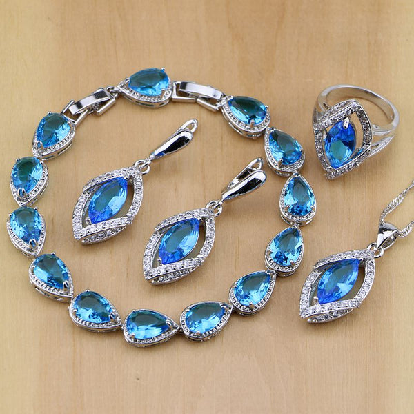 925 STERLING SILVER BLUE TOPAZ SPLENDID BIRTHSTONE 5 PCS SET