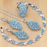 925 STERLING SILVER BLUE TOPAZ ELEGANT BIRTHSTONE 5 PCS SET