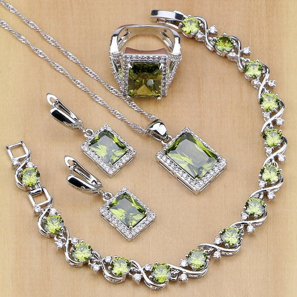 925 STERLING SILVER PERIDOT QUEEN  BIRTHSTONE 5 PCS SET