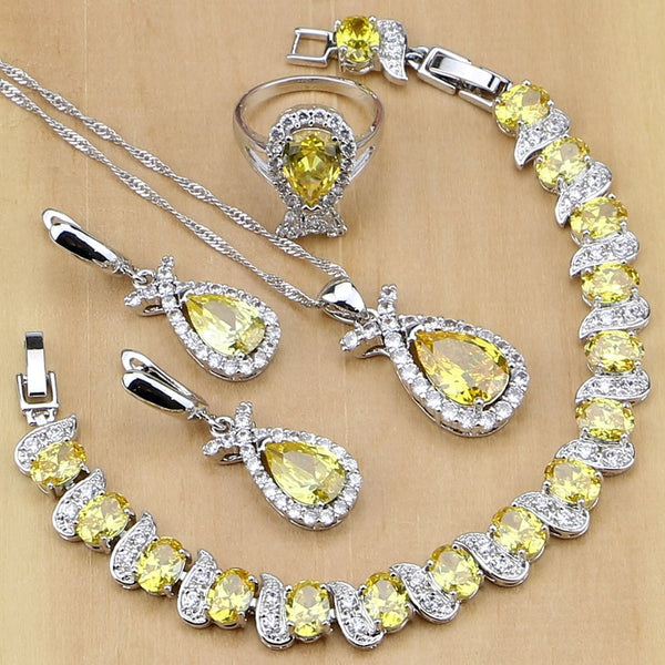925 STERLING SILVER YELLOW TOPAZ ELEGANT BIRTHSTONE 5 PCS SET