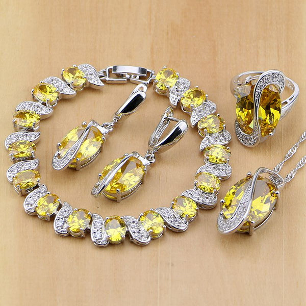925 STERLING SILVER YELLOW TOPAZ SUPERB BIRTHSTONE 5 PCS SET
