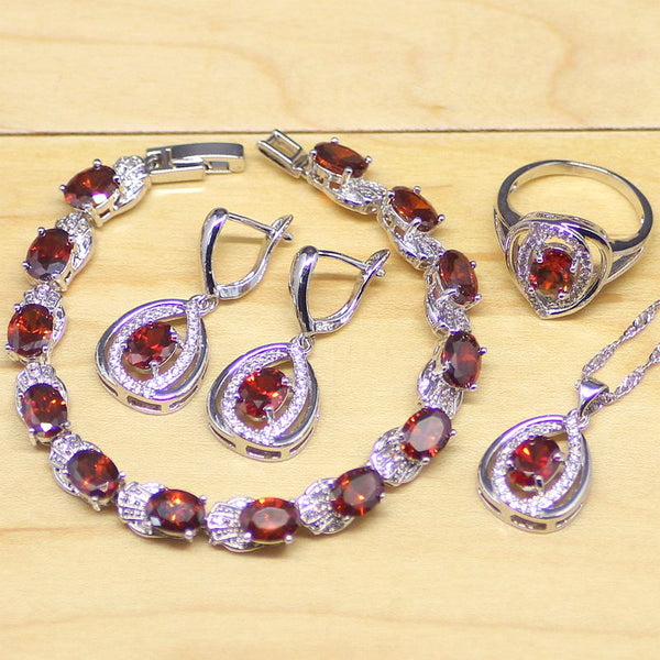 925 STERLING SILVER RUBY STUNNING BIRTHSTONE 5 PCS SET