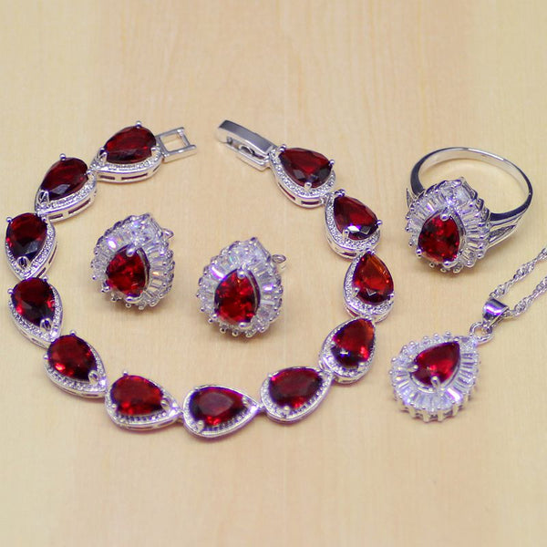 925 STERLING SILVER RUBY STRIKING BIRTHSTONE 5 PCS SET
