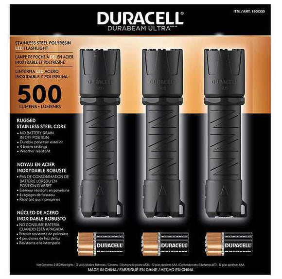 Duracell 500 Lumen LED Flashlight, 3-pack