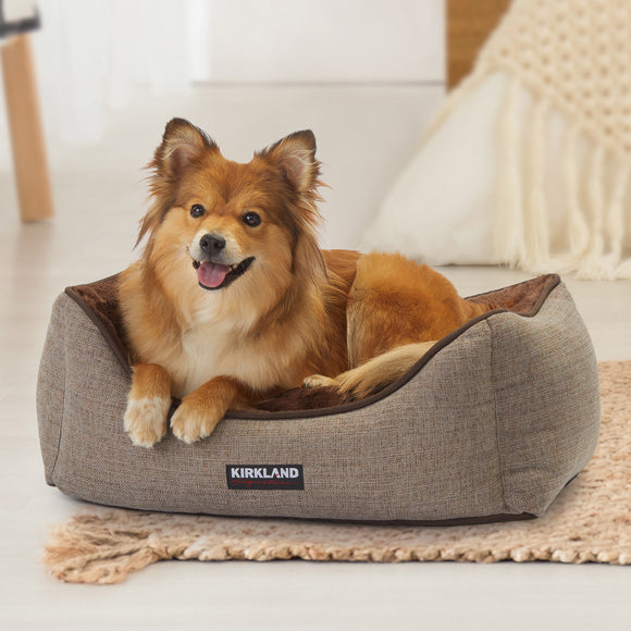 Kirkland Signature Rectangular Cuddler Dog Bed, Brown