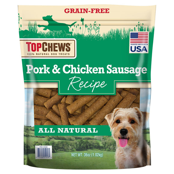 Top Chews Pork & Chicken Sausage Dog Treats, 36 oz.