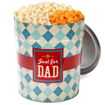 Popcornopolis 3.5 Gallon Father's Day Popcorn Tin: Jalapeño Cheddar, White Cheddar, Kettle Corn