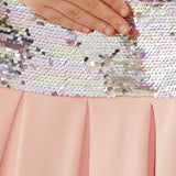 Paperdoll Flip Sequin Dress, Blush
