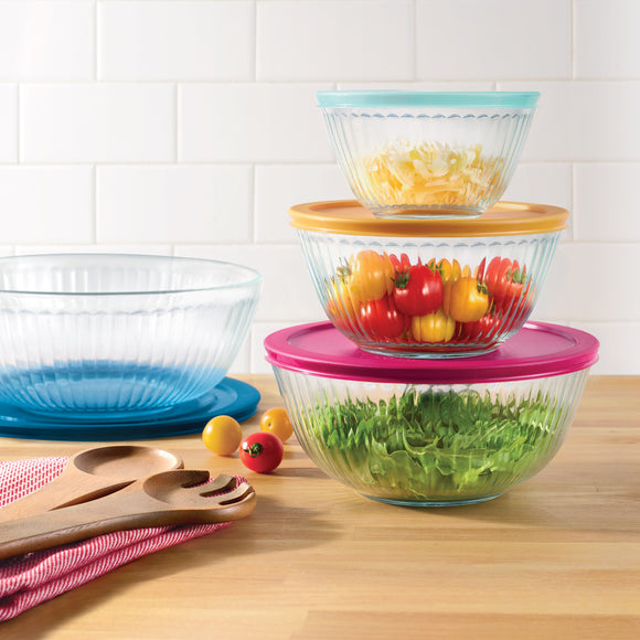 Pyrex 4-piece Glass Sculpted Mixing Bowls