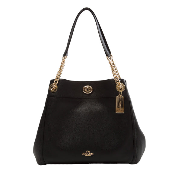 Coach Pebble Edie Turnlock, Black