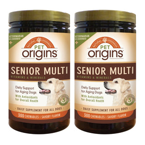 Pet Origins Senior Chewable Multivitamins for Dogs, 300-count, 2-pack