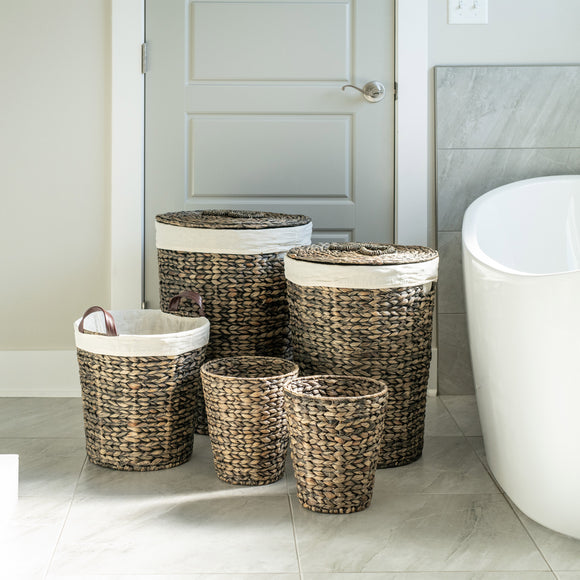 Water Hyacinth 5-piece Hamper & Bath Set