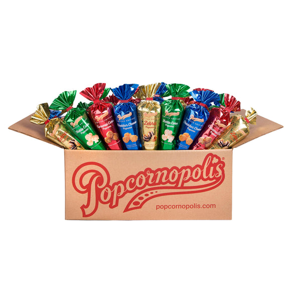 Popcornopolis Case of 24 Limited Edition Mini Cones: Caramel, Cheddar, Kettle, and Zebra