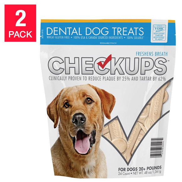 CheckUps Dental Dog Treats 24 Count, 2 Pack