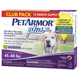 PetArmor Plus Flea, Tick and Lice Formula for Dogs 45-88 lbs, 12 Month Application