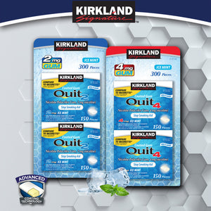 Kirkland Signature Quit 2 mg. or 4 mg. Ice Mint Gum, 300 Pieces