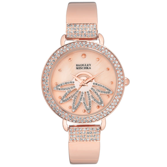 Badgley Mischka Rose Gold Tone Flower Women's Watch