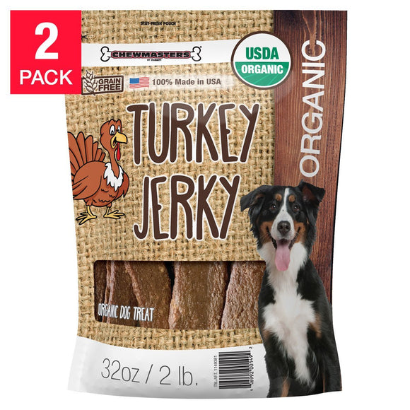 Chewmasters Organic Turkey Jerky Dog Treats 32 oz, 2 Pack