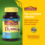Nature Made Vitamin D3 5000IU, 220 Softgels