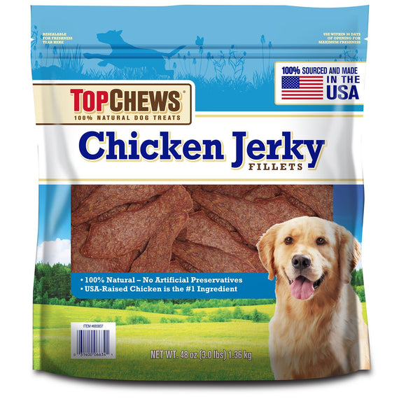 Top Chews Chicken Jerky Fillets Recipe 100% Natural Dog Treats - FREE SHIPPING