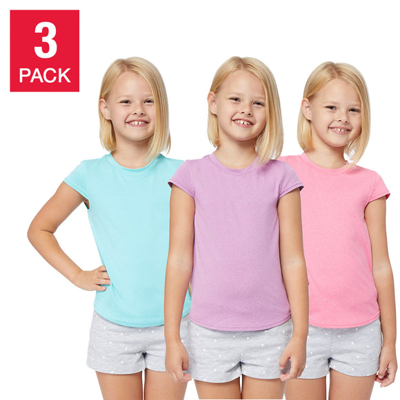 32 Degrees Youth 3-pack Tee, Mint/Purple/Pink