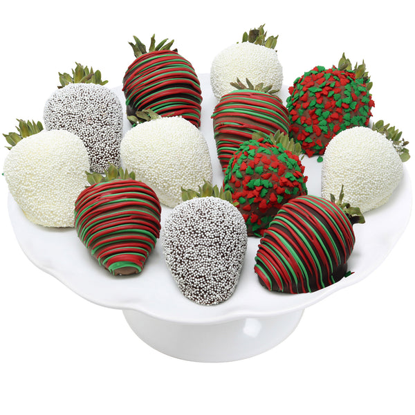 Christmas Belgian Chocolate Covered Strawberries, 12-piece