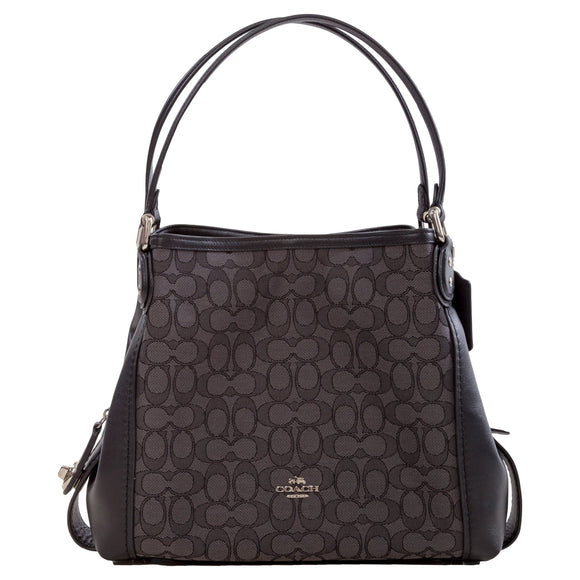 Coach Signature Edie 31 Shoulder Bag, Black with Signature Jacquard