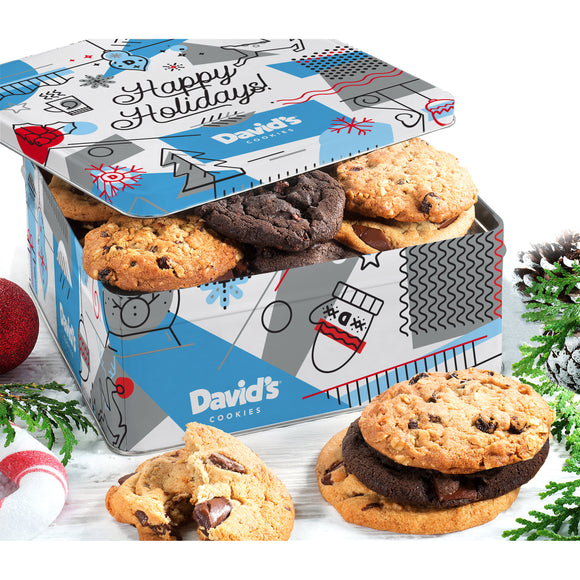 David's Cookies Happy Holidays Fresh Baked Large Holiday Cookie Tin