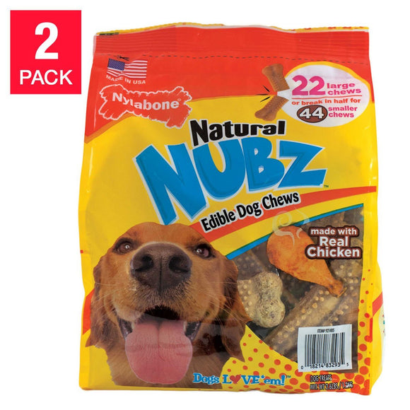 Nylabone 22-count NUBZ Dog Chews 2-pack