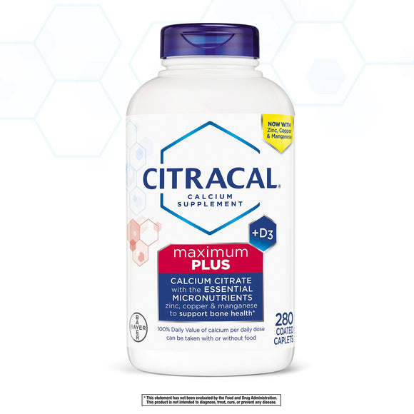 Citracal Maximum Plus Calcium Citrate + D3, 280 Caplets
