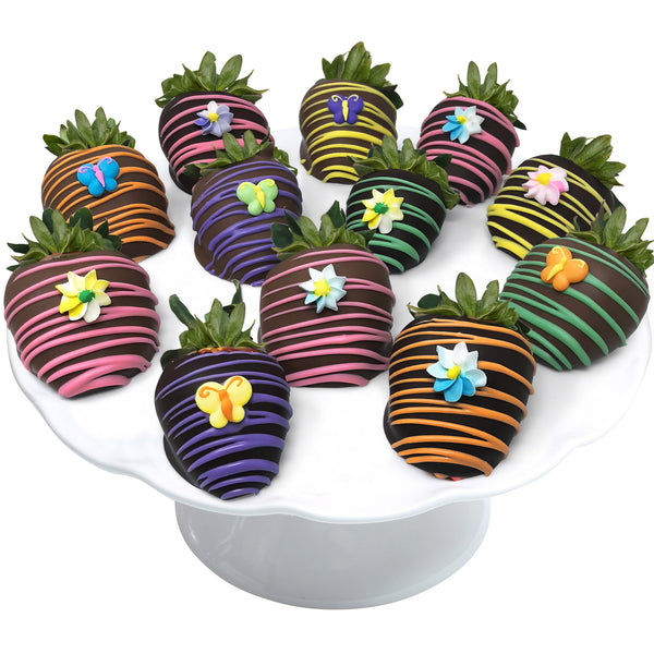Spring Flower Colorful Belgian Chocolate Covered Strawberries 12-piece