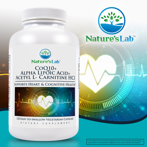 Nature's Lab CoQ10 + Alpha Lipoic Acid + Acetyl L-Carnitine HCl, 120 Vegetarian