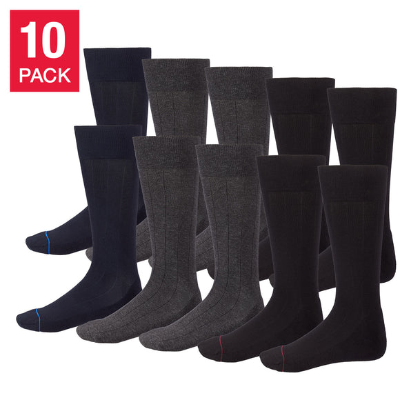 Kirkland Signature Men's Cushioned Crew Dress Sock, 10-pair