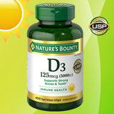 Nature's Bounty Vitamin D3 125 mcg, 400 Softgels