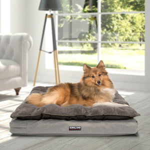 "Kirkland Signature 36"" x 40"" Pillow Top Orthopedic Dog Bed, Tan"