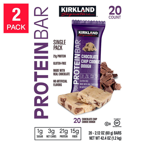 Kirkland Signature Protein Bars Chocolate Chip Cookie Dough 2.12 oz, 2-count