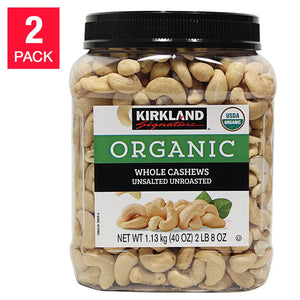 Kirkland Signature USDA Organic Unsalted Unroasted Whole Cashews 2.5 lb, 2-count