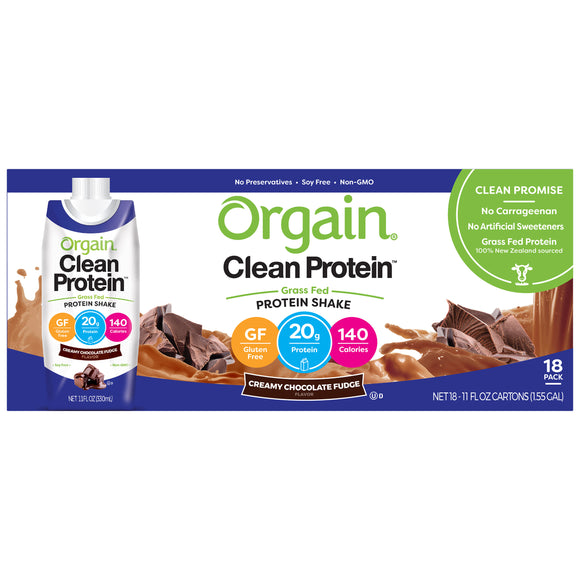 Orgain Clean Grass Fed Whey Protein Shake 11 fl oz, 18-count