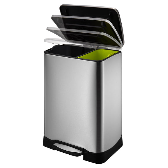 Neocube 50L Dual Compartment 28L and 18L Recycle and Trash Bin Stainless Steel Recycle Step Trash Can