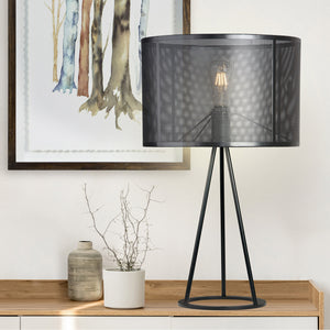 "Fortify 28.74"" Mesh Shade Table Lamp, Black"