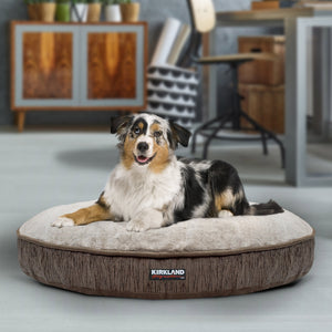 "Kirkland Signature 42"" Round Dog Bed, Brown Lines & Faux Suede"