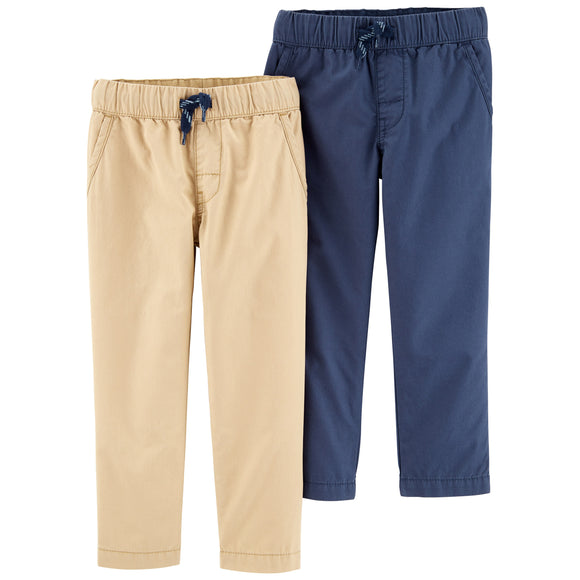 Carter's Mix and Match Pants, Tan/Blue 2-pack