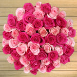 50 Stem Valentine's Day Hot Pink & Light Pink Roses