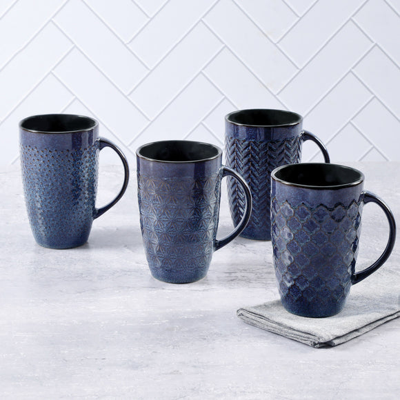 Laurie Gates Embossed 22oz Mug set, 4-piece