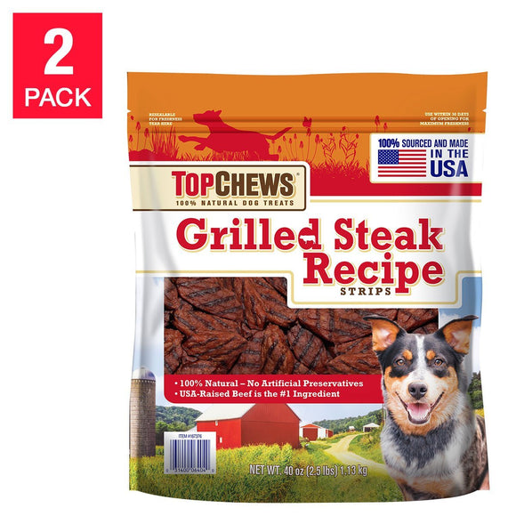 Top Chews Grilled Steak Dog Treats, 2.5 Lbs 2-Count