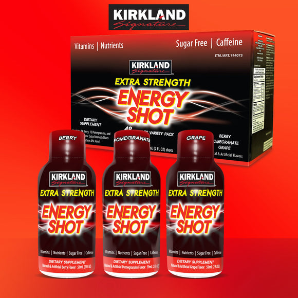 Kirkland Signature Extra Strength Energy Shot, 48 Bottles, 2 Ounces Each
