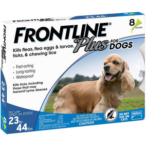 Frontline Plus Dog 23-44 lb, 8 Single Doses
