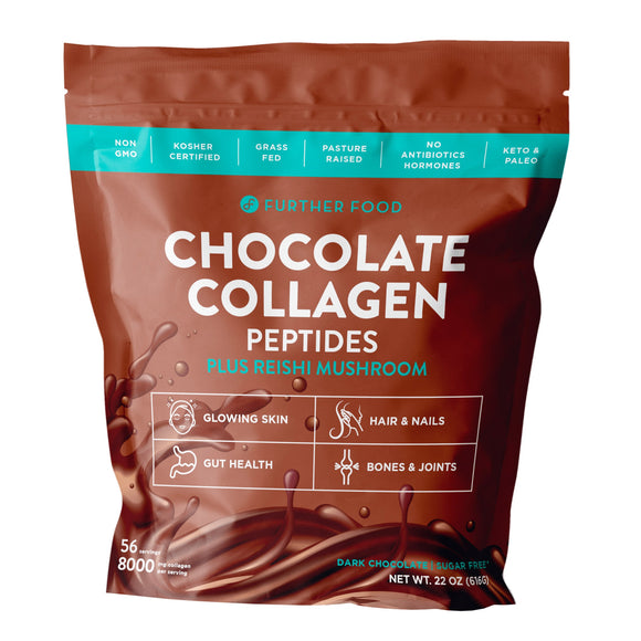 Further Food Chocolate Collagen Peptides Protein Powder Plus Reishi Mushroom