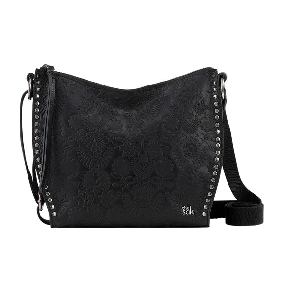 The Sak Leather Saratoga Crossbody, Black Embossed Floral